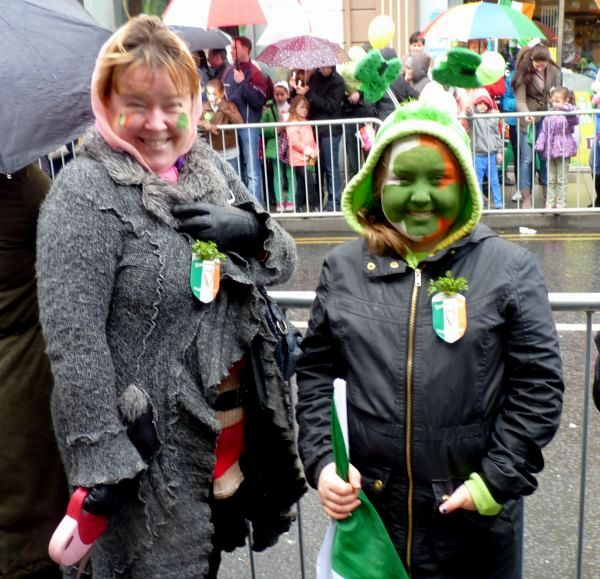 St Paddy's Day Parade Galway 2013, revellers with facepaint