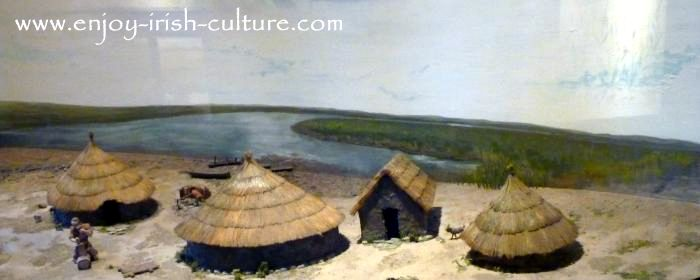 Model of an early Christian Irish community. People lived in round houses, but the church was rectangular.