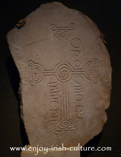 Early Christian cross found at Clonmacnoise monastery, County Offaly, Ireland.