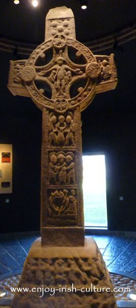The Cross of the Scriptures- the most famous Irish high cross, at Clonmacnoise, County Offaly, Ireland.