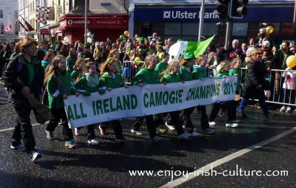 Paddy's Day in Galway, Ireland- camogie team in the parade.