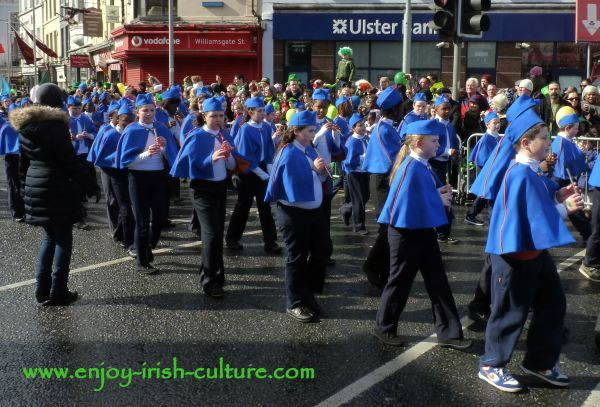 Paddy's Day in Galway, Ireland-kids playing tin whistle