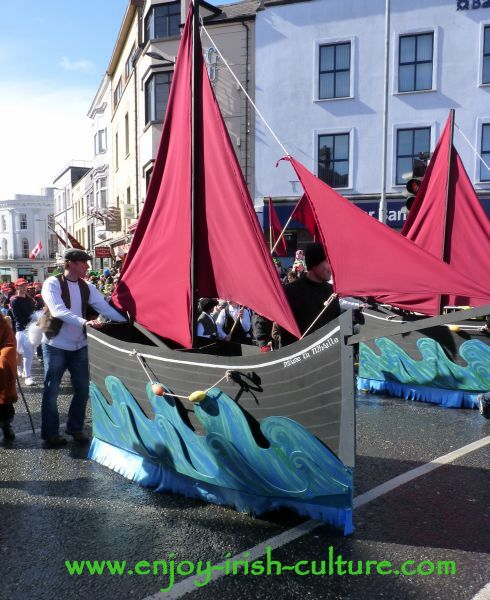Paddy's Day in Galway, Ireland, Galway hooker boat float. Galway hooker boat