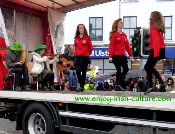 Paddy's Day in Galway, Ireland, Irish dancing float