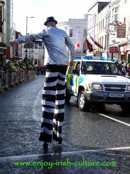 Paddy's Day in Galway, Ireland- a street artist directing Gardai.