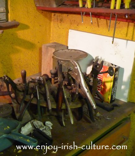 Tools at the workshop of instrument maker Eugene Lambe who is also a well-known uilleann piper.