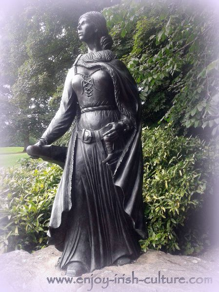 Sculpture of Grace O'Malley, pirate queen, at Westport, County Mayo, Ireland.
