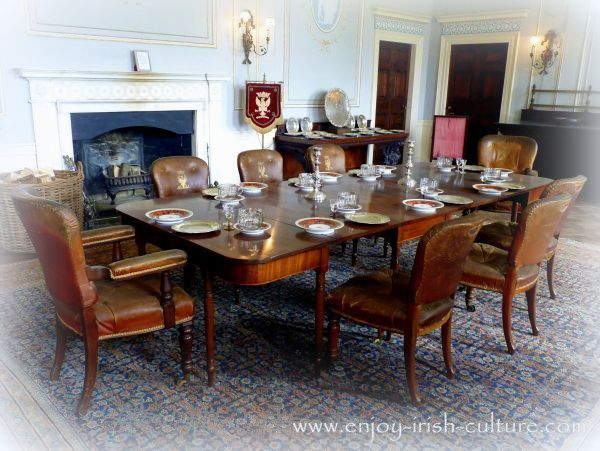 Dining room at the Irish big house at Westport, County Mayo, Ireland.