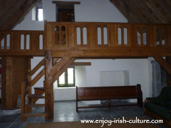 Minstrels gallery in the great hall at Annaghdown Castle, County Galway, Ireland.