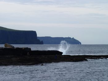 The Moher Cliffs seen from the sea, County Clare, Ireland