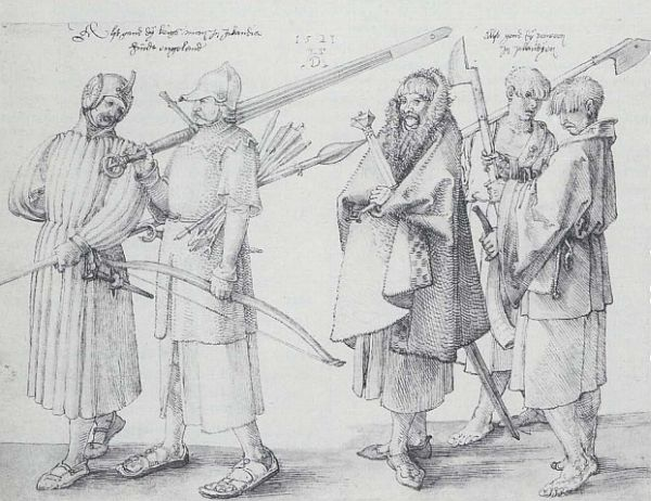 Medieval drawing of Irish galloglaigh warriors by German artist Albrecht Duerer.