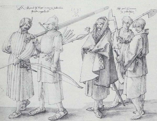 Medieval drawing of Irish galloglaigh warriors by German artist Albrecht Duerer.