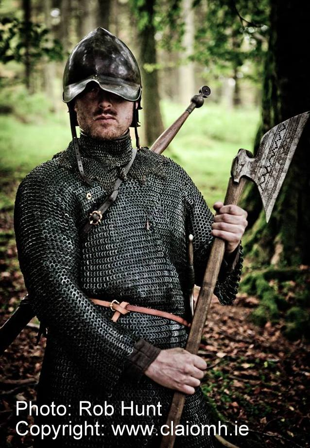 Galloglaigh warrior of medieval Ireland  with a sparth axe.