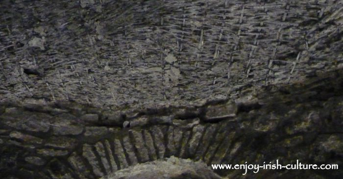 Medieval wickerwork in the ceiling of the medieval room at Kilkenny Castle, Ireland, shows us how medieval vaulted structures were built.