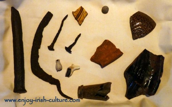 Artifacts found in the archaeological dig at Annaghdown Castle, County Galway, Ireland.