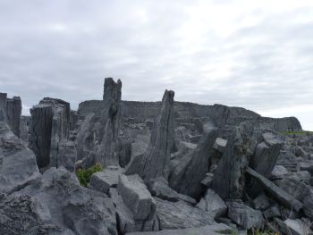 Chevaux de frises at Dun Aengus Fort on Inishmore, County Galway, Ireland.