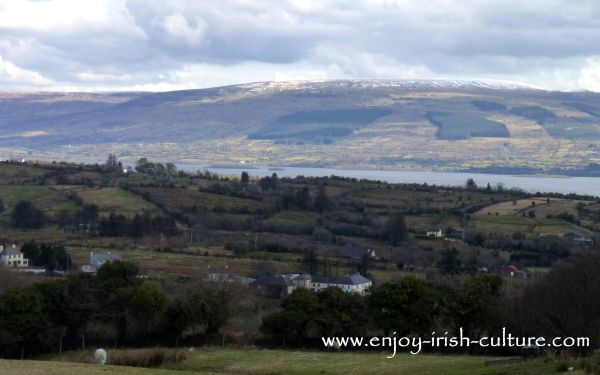 The view over the valley towards Cavan from Arigna Mines, County Roscommon, Ireland.