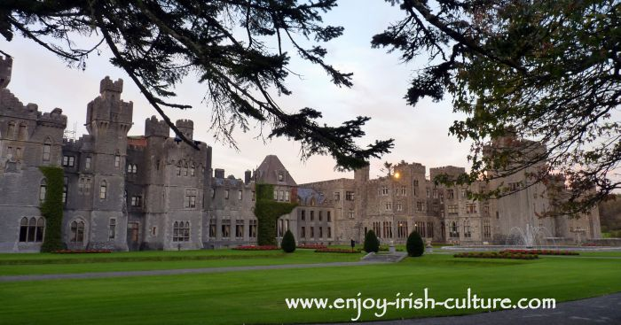 The famous Ashford Castle Hotel, County Mayo, Ireland a 19th century revival castle.
