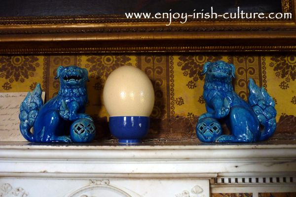Chinese Fu Dogs displayed in the drawing room at Strokestown Park House, County Roscommon, Ireland.