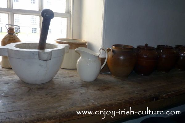 Kitchen implements at Strokestown Park House, County Roscommon, Ireland.