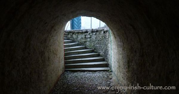The servant's tunnel at Strokestown Park House in County Roscommon, Ireland,..