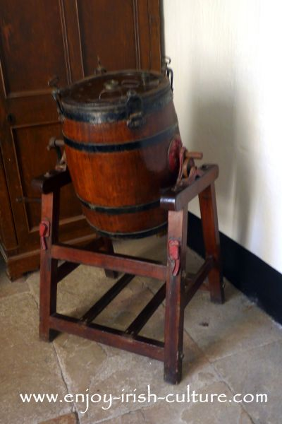 Butter churn at Strokestown Park House, County Roscommon, Ireland.