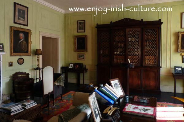 Interiors of the drawing room at Strokestown Park House,  County Roscommon, Ireland.