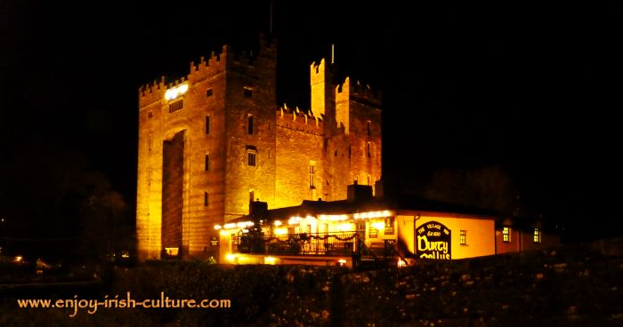 Bunratty Castle, County Clare, Ireland, is one of the best preserved medieval castles in Ireland.
