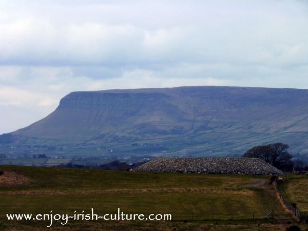 The Listoghil passage grave in front of Ben Bulben mountain, County Sligo, Ireland.