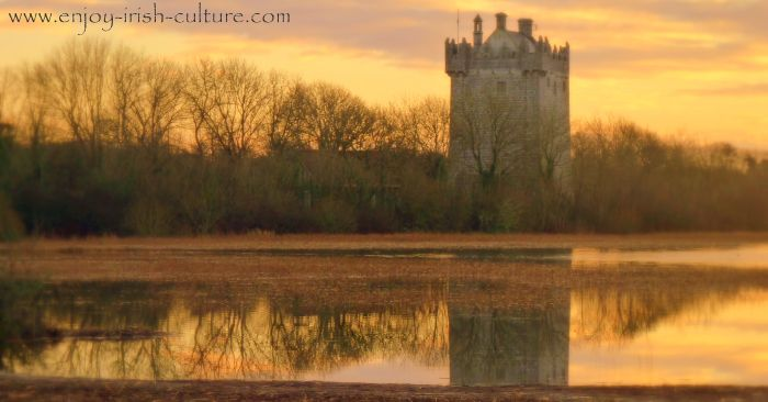 Annaghdown Castle, County Galway, Ireland, at sunrise.