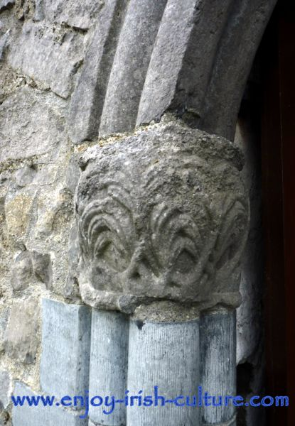 Detail of stone carving at the entrance door of Athenry Castle, County Galway, Ireland.