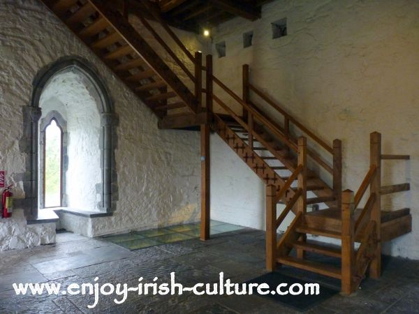 Beautiful traditional stairway at Athenry Castle in County Galway, Ireland.