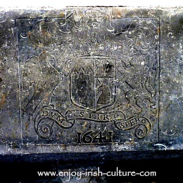 The Butler family crest carved into a fireplace at the Ormond Castle, Carrick on Suir, Tipperary, Ireland,