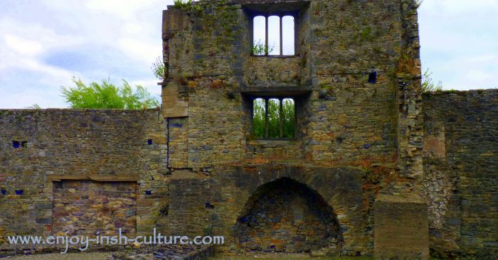 Ruin of the medieval part of the Ormond Castle at Carrick on Suir, Tipperary, Ireland.