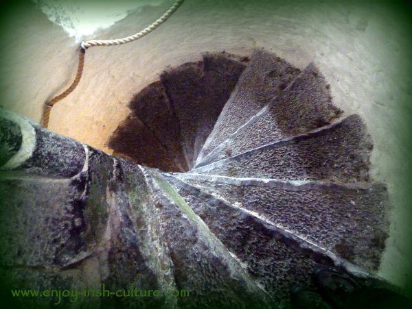 defensive stairway at an Irish castle