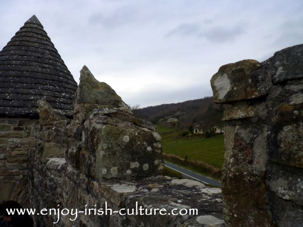 The battlements in the bawn wall at Parke's Castle, County Leitrim, Ireland.