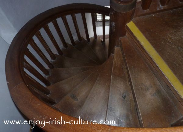 Unusual wooden defended stairway for a left handed castle owner at Parke's Castle, County Leitrim, Ireland.