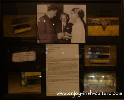 Poster in the ring museum at Dillon's Jewellery shop documenting the creation of a casket for Princess Grace by Johnathan's dad.