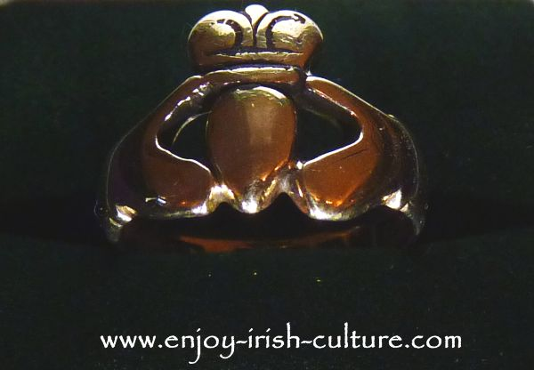 Antique Claddagh ring that can be seen at Dillon's jewellers ring museum on Quay Street, Galway, Ireland.