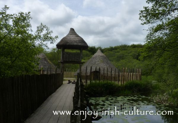 Reconstructed model of a crannog at Craggaunowen heritage museum near Quinn in County Clare, Ireland.