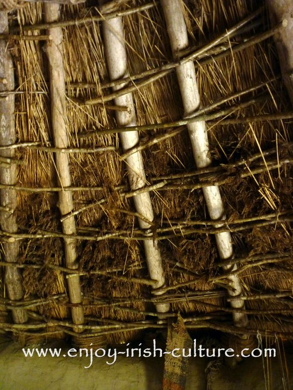 The inside of a roof inside a reconstructed dwelling at Craggaunowen (which is an Irish heritage museum)near Quinn in County Clare, Ireland.