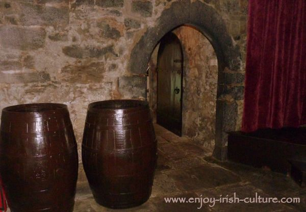 Barrels  in the downstairs vaullted storage room at the castle.