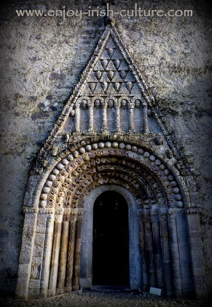 The doorway of Clonfert Cathedral, a remarkable Irish heritage site in County Galway.