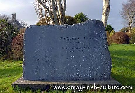 Memorial stone for the Irish Potato Famine at Annaghdown graveyard,  County Galway.