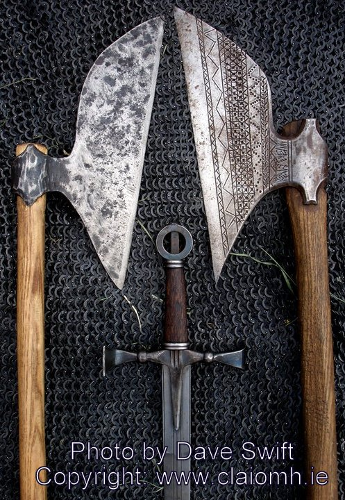 Weapons used during the battle the Battle of Knockdoe (in County Galway, Ireland) included these sparth axes and ringswords.