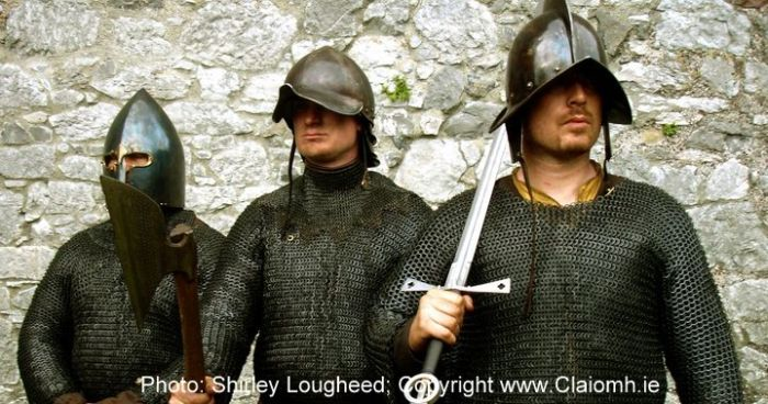 Gallowglass warriors of medieval Ireland who fought at the Battle of Knockdoe (County Galway, Ireland).