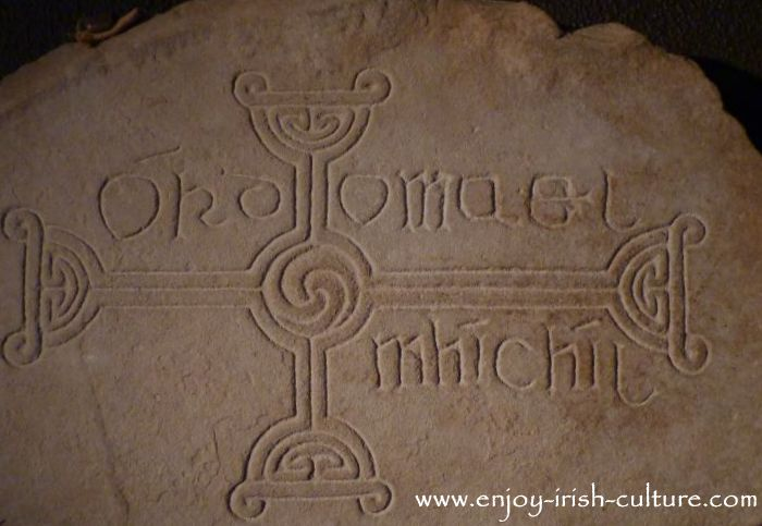 Early Christian cross found and exhibited at Clonmacnoise, County Offaly, Ireland.