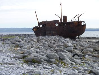 Inisheer, County Galway, Ireland- the ship wreck of the Plassy has become a characteristic piece of the landscape here over the last forty odd years.