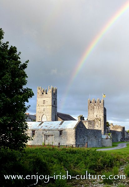 Medieval heritage of Ireland At Fethard, County Tipperary, Ireland- town wall, church and tower house.