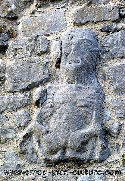 Sheela Na Gig of medieval Ireland at the heritage town of Fethard, County Tipperay, Ireland.